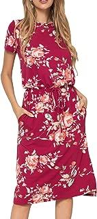 Women's Floral Short Sleeve Casual Pockets Midi Dress