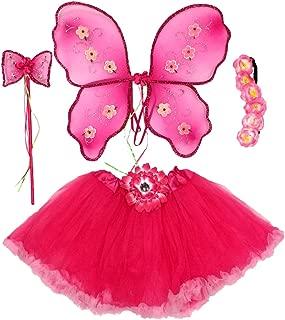 Enchantly Girls Pink Fairy Dress Up - Ruffle Tutu, Wings, Wand, Headband, Age 5-10