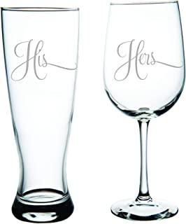 C M His Pilsner Beer Glass, 23oz. and Hers Wine Glass, 19oz. (set of 2) - Great Couples Gift.