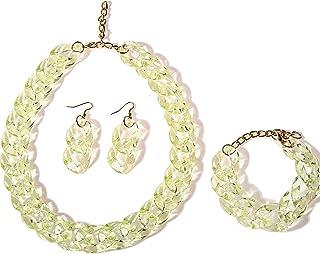 Handmade Colorful Transparant Acrylic Paperclip Chain Choker Necklace Bracelet and Drop Dangle Earring Set Minimalist Rain...
