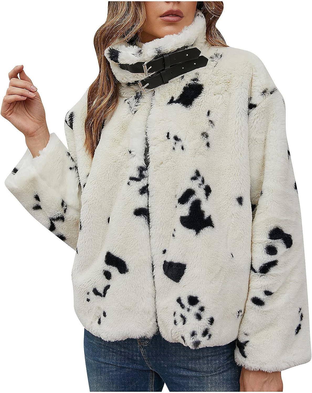 Faux Fur Coats Women Furry Jackets Short Overcoat Long Sleeve Cardigan Coat for Winter Outerwear Lapel Faux Fur Coat