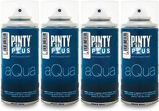 Pintyplus Aqua Spray Paint – Top Coat Art Set of 4 Water Based 4.2oz Mini Spray..
