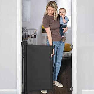 """YOOFOR Retractable Baby Gate, Extra Wide Safety Kids or Pets Gate, 33"""" Tall, Extends to 55"""" Wide, Mesh Safety Dog Gate for..."""