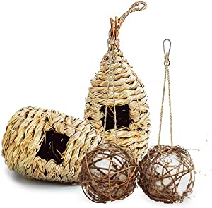 Uiuilz Hummingbird House for Outside Hanging, Globe Hummingbird Nesting Full of Bird Nest Fiber,Hand Woven Hummingbird Nest for Outdoor Indoor Tree Decorations Garden Gifts(4 Pack)
