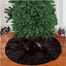 Christmas Tree Skirt Sequin Tree Skirt Xmas Pine Tree Ornaments Artificial Christmas Pine Tree Skirt Holiday Decor (48 Inc...