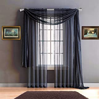 Warm Home Designs Pair of Premium Quality 54 x 84 Inch Sheer NavyBlue Faux-Linen Rod Pocket Curtains. Total Width of These Affordable Drape Panels is 108