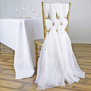 Efavormart 5 Pack 6 Ft White DIY Premium Chiffon Designer Chair Sashes for Wedding Banquet Decor Chair Bow Sash Party Decoration