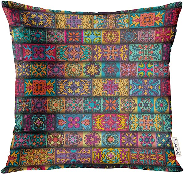 UPOOS Throw Pillow Cover Bohemian Colorful Vintage With Floral And Mandala And Carpet Indian Ottoman Motifs Decorative Pillow Case Home Decor Square 20x20 Inches Pillowcase