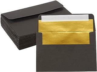 50-Pack A4 Envelopes - 4.25 x 6.25 Inches Square Flap Envelopes - Photo Envelopes - Invitation Envelopes for Wedding Invitations - 120gsm, Black Outside, Gold Inside