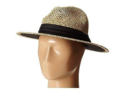 San Diego Hat Company SGM502 Rush Straw Wide Brim Fedora (Black) Fedora Hats