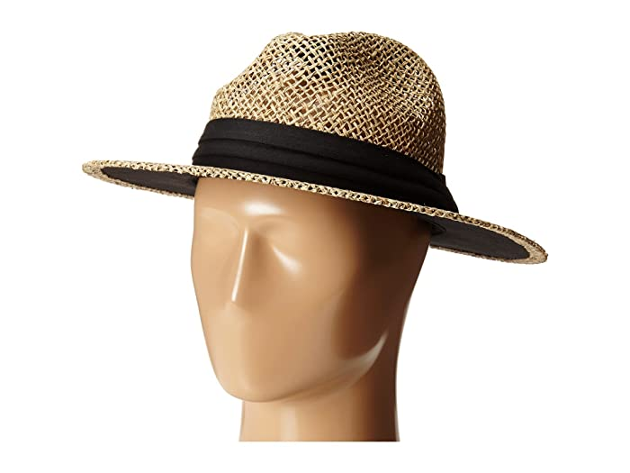 San Diego Hat Company SGM502 Seagrass Panama Fedora w/ Cloth Band (Black) Fedora Hats