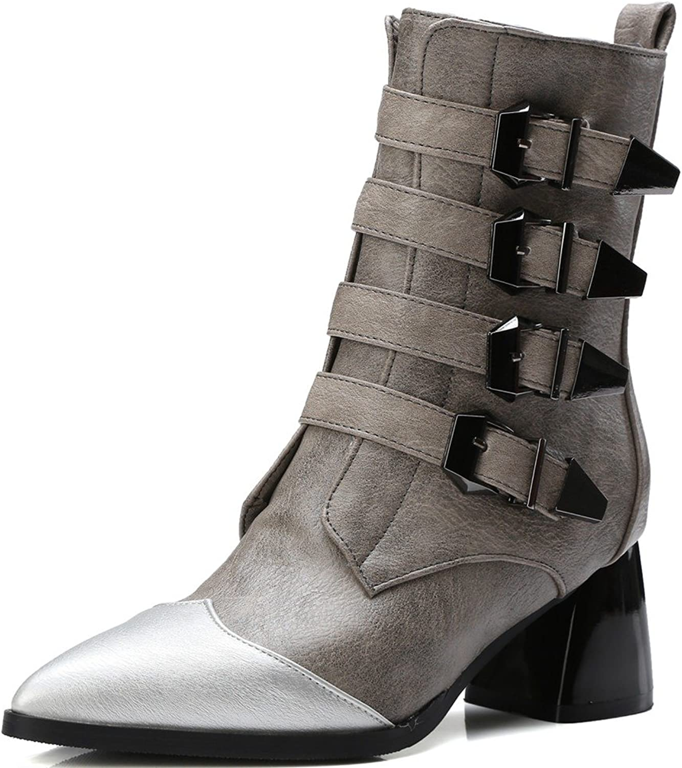 DecoStain Women's Belt Buckle Pointed Mid-Heel Martin Boots Black Boots Grey Boots