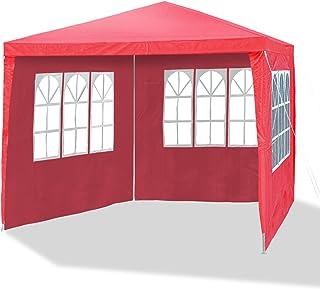 JOM 127136 Carpa de jardín, 3 x 3m, con 4 paredes laterales, 3 ventanas y 1 puerta con cremallera, material PE 110G, varillaje metálico, conectores de plástico, impermeable, con piquetas y cables, rojo