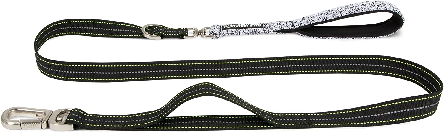 Pup Crew Pro Pathfinder Leash with Neoprene Padded Handle, Reflective Ticking, and Tangle Free Joint (Storm Black)