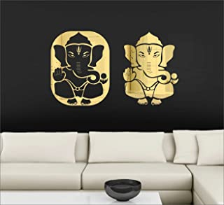 Atulya Arts- Ganesha Wall Sticker Golden (Pack of 2) 3D Acrylic Stickers Decorative Mirror Wall Stickers for beedroom Livi...