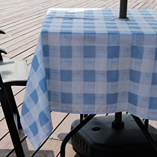 Aoohome 60x84 Inch Rectangle Tablecloth with Zipper and Umbrella Hole, Polyester Spill-Proof Water Repellent Plaid Table Cover for Summer Outdoor Holiday Party, Machine Washable, Heavy Weight, Blue