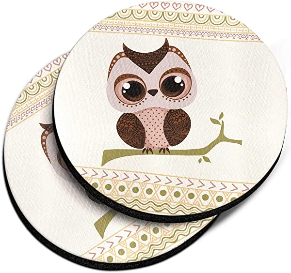 CARIBOU Coasters Aztec Baby Owl Design Absorbent ROUND Fabric Felt Neoprene Car Coasters For Drinks 2 56 Inches 2pcs Set