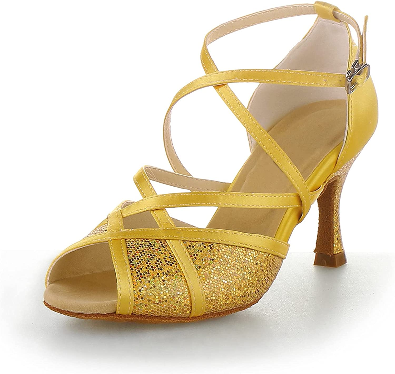 JIAJIA Y20514 Be Shipping included super welcome Women's Satin Sandals Latin Heel Salsa Perf Flared