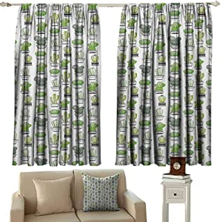 zojihouse Cactus Curtain Outdoor Privacy Porch Hand Drawn Foliage Pattern with Ornamental Pottery Design Sketch Style Art W63xL71 Green Black White