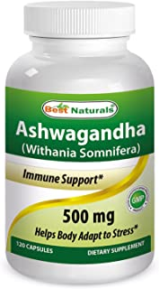 Best Naturals Ashwagandha Capsules for Relaxing Stress and Mood, 500 mg, 120 Count