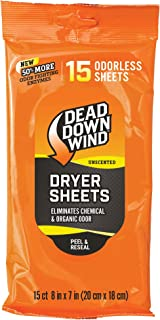 Dead Down Wind Dryer Sheets | 15 Odorless Sheets | Odor Eliminator for Hunting Gear + Hunting Accessories | Anti-Static, Biodegradable Unscented Sheets | 1 Resealable Package