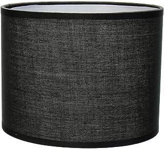 Pantalla de lámpara de tela negra para lámpara de mesa E14, diámetro de 17 cm, cilindro