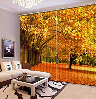 xszhqxxla Printing Curtains, Autumn Maple Leaf Digital Print Sound Insulation Curtains, for Living Room Bedroom Blackout Curtains 66