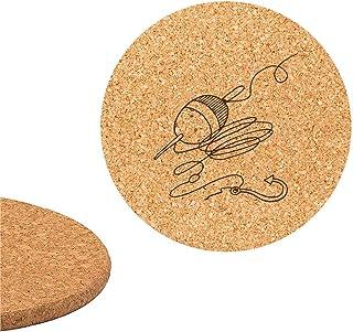 Motivo Dipinto a Mano inciso Larolo Set di 2 sottopentola Sughero Altezza 1 cm /Ø 18,5 cm Rotondo Line