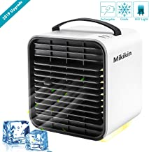 Mikikin Portable Air Conditioner Cooler Fan, Personal Space Air Cooler, Humidifier, Evaporative Cooler, USB Rechargeable Mini Cooling Desktop Fan with LED Light, 3 Speeds