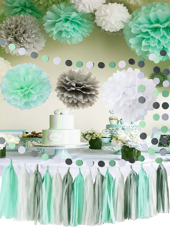 Mint Baby Shower Dekorationen/Mint Grey White Elephant Baby Shower ...