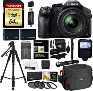 Panasonic LUMIX DMC FZ300 4K Point and Shoot Camera with Leica DC Lens 24X Zoom Black + Polaroid Accessories + 64GB SD Card + 57