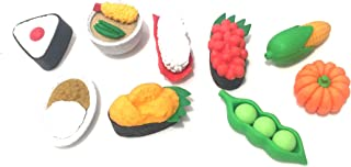 Daiso Japan Kitchen Fruit Bakery Japanese Mini Puzzle Erasers Novelty Collectibles Party Favors School Supplies (9 Piece Set) (Sushi)