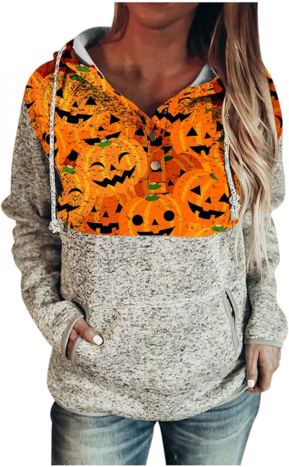 Gibobby Hoodies for Women Pullover Drawstring Oversized Sweaters Lightweight Halloween Printed Long Sleeve Button Sweatshirts