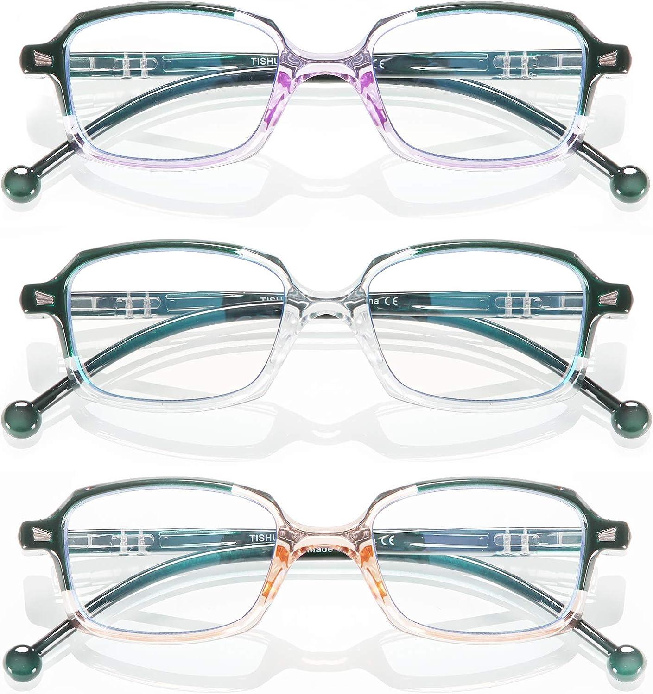 TISHUI Pack de 3 Gafas de Lectura Gafas para Presbicia Hombres Mujeres,Reproductor de ordenador rectangular, moda masculina y femenina, lupa, protección UV, fatiga ocular