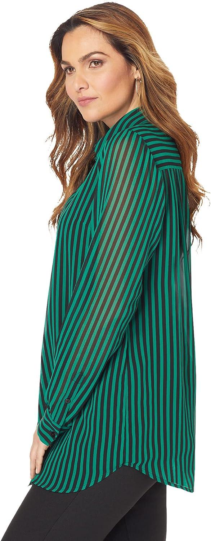 Roaman's Women's Plus Size Georgette Big Shirt Sheer Button Down Tunic Shirt Blouse - 12 W, Navy Double Stripe White