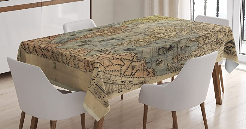 Ambesonne Antique Decor Tablecloth by, Ancient Map of World Global History Stained Paper Oceans Lands Atlas Educational Art, Dining Room Kitchen Rectangular Table Cover, 52 X 70 Inches