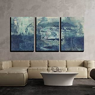 wall26 - 3 Piece Canvas Wall Art - Art Abstract Acrylic Background in White and Blue Colors - Modern Home Decor Stretched and Framed Ready to Hang - 24