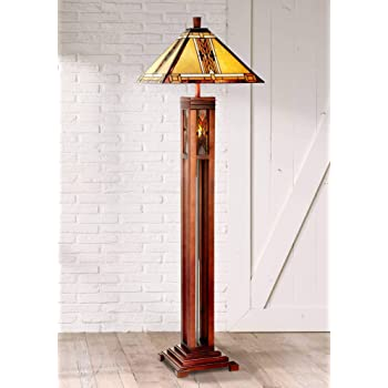 Mission Floor Lamp With Nightlight Walnut Wood Column Stained