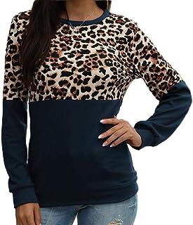 GAGA Women Shirt Leopard Print Patchwork Stitching Top Blouse Fashion Long Sleeve Casual Loose T-Shirts