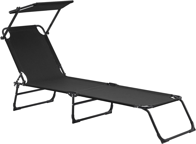 Tumbona Plegable 190cm Negra con Techo - Acero - Hamaca de Playa, para jardín, Silla reclinable Piscina