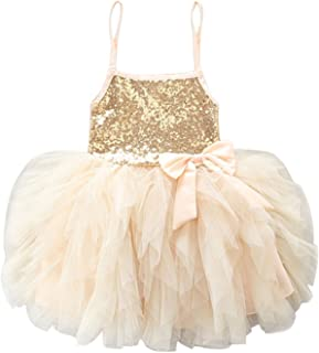 Baby Girls Spaghetti Strap Sequins Bow Decoration Mesh Tutu Skirt Dress Special Occasion Wedding Dress