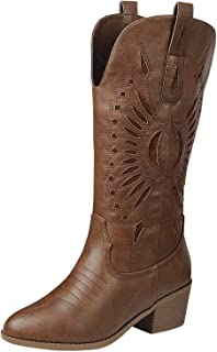ShoBeautiful Western Mid-Calf Laser-Cut Inlay Cowboy Cowgirl Harness Boots Fuax Leather Fashion Comfort Bootie Pull Up tabWN11