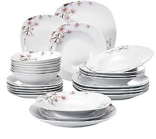 VEWEET Annie Juegos de Vajillas 24 Piezas de Porcelana con 6 Cuencos de Cereales, 6 Platos, 6 Platos de Postre y 6 Platos Hondos para 6 Personas