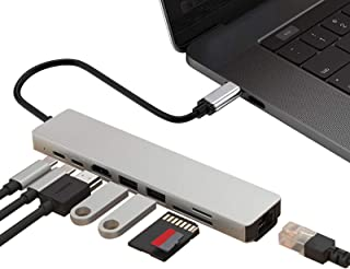 Proxima Direct USB C Hub, 8 in 1 Aluminum Multi Port Adapter Type C Combo Hub to HDMI Male 4K, USB 3.0 Ports, Ethernet Por...