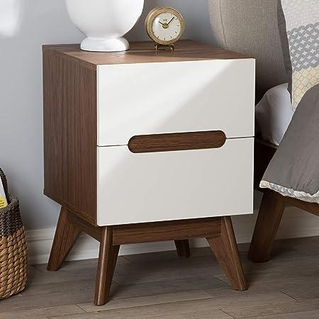 Baxton Studio Calypso Mid-Century Modern White and Walnut Wood 3-Drawer Storage Nightstand Mid-Century/White/Walnut Brown/Particle Board/MDF with PU Paper/