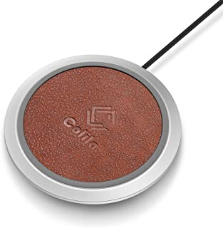 Colila 10W 2A Wireless Charger PU Leather Quick Charge Qi Certificated Wireless Charging Pad with Anti-Slip Silicon Pad and Sleep Freindly LED Indicator for iPhone X/8/8 Plus and Sumsung (Brown)