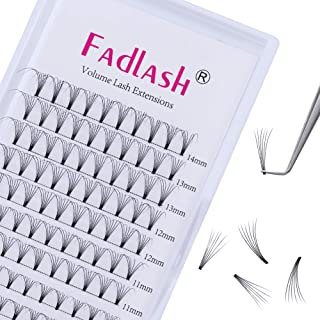 6D Lash Extensions C curl 8~14mm Mega Premade Volume Eyelash Extensions Supplies 0.10mm Mixed Tray Individual Lashes Knot Free by FADLASH