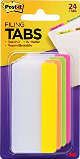 Post-it Tabs, 3 in, Solid, Assorted Bright Colors, Durable, Writable, Repositionable, Sticks Securely, Removes Cleanly, 6 Tabs/Color, 4 Colors, 24 Tabs/Pack, (686-PLOY3IN)
