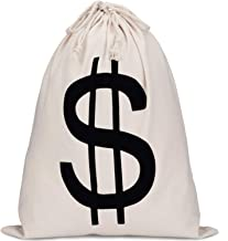 19.7 x 15.8 Inch Money Bag Dollar Sign Bag Money Drawstring Canvas Bag with Dollar Symbol for Toy Favor Cosplay Themed Party