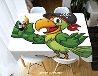 SUPFENG Pirate Printed Rectangle Washable Picnic Table Cover Cartoon Parrot with Pirate Hat Eye Patch Waving Hand Gesture Cute Funny Character Decorative for Home Cafe Restaurant Beverage Shop